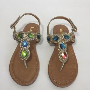 Girls Gold Jeweled and Rhinestones New Kidpik Sparkling Sandals Ankle Strap.